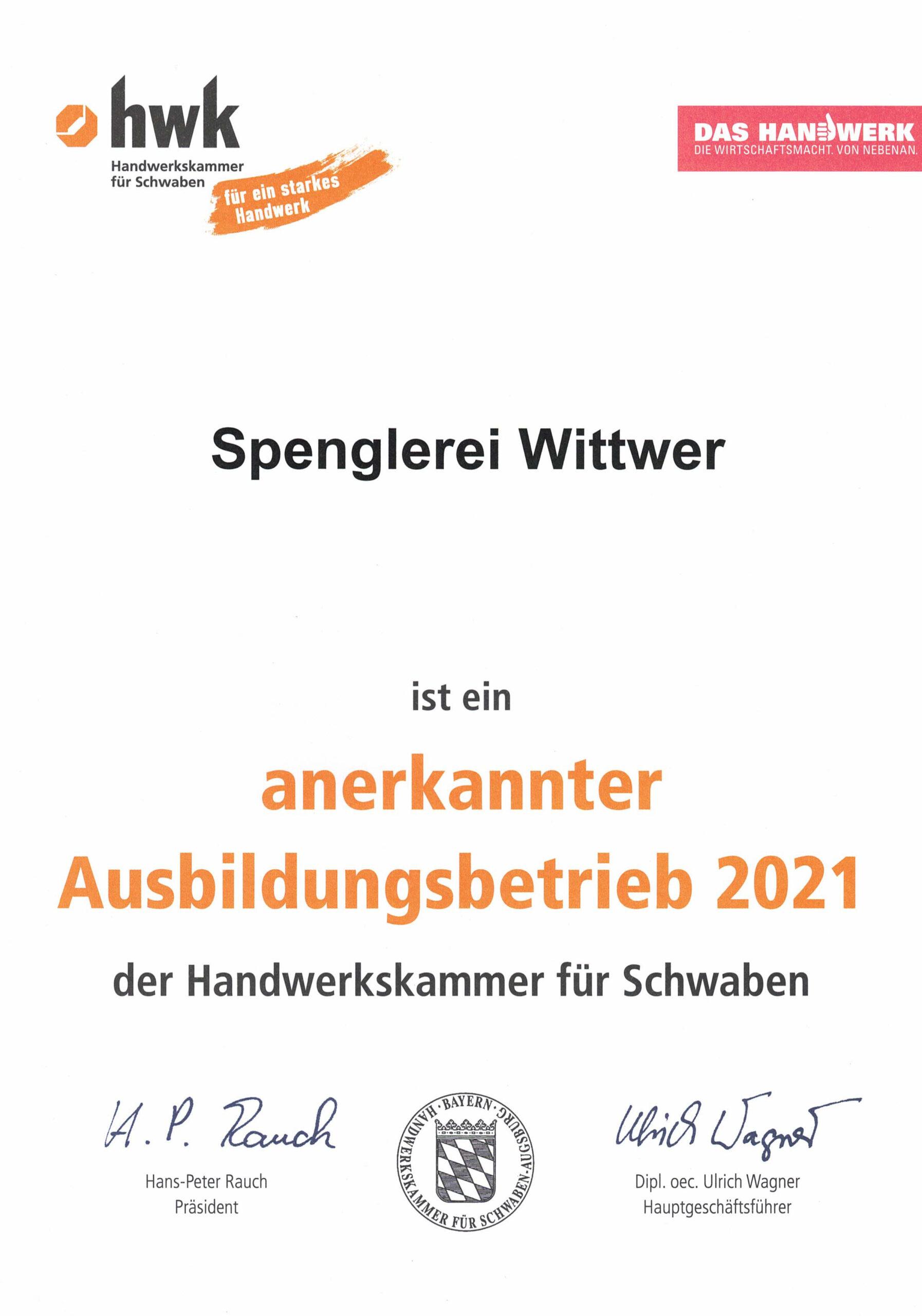Urkunde »Anerkannter Ausbildungsbetrieb 2021«